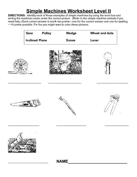 Simple Machines Worksheet Level Ii Worksheet For 3rd  4th Grade  Lesson Planet