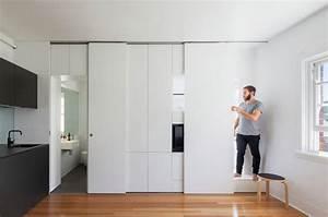Small Space Hacks: Sliding Cabinet Doors Hide Clutter