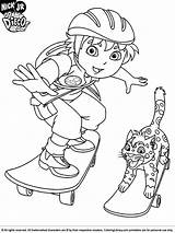 Diego Coloring Go Pages Skateboard Cartoon Printable Dora Colouring Print Drawing Boys Sheets Cool Jaguar Baby Looking Coloringlibrary Explorer Characters sketch template
