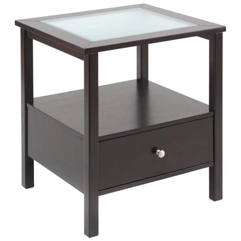 glass table l end table with glass insert top and drawer 236456