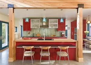 Interesting Blue Counter For Modern Kitchen Design In Wide
