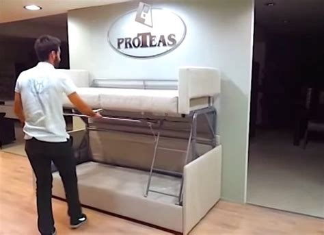 tiny house furniture sofa to bunk bed in 14 seconds