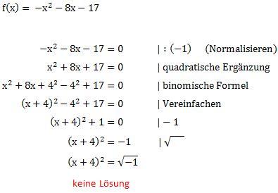 nullstellen mit der quadratischen ergaenzung berechnen