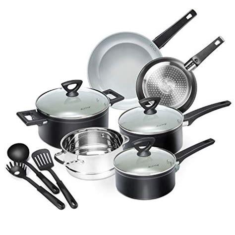 duxtop  piece nonstick cookware set dishwasher oven safe ceramic pots  pans set  glass