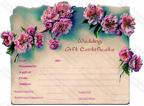pink wedding gift certificate template