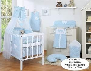 Ciel De Lit Bébé : ciel de lit b b en voile avec bande liberty bleu coeurs ~ Teatrodelosmanantiales.com Idées de Décoration