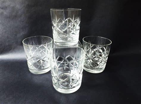 4 Cut Glass Whiskey Glasses, English Whisky Tumblers