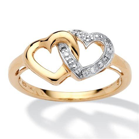 diamond accent interlocking heart promise ring   gold