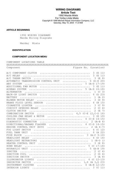 Mazda Miata Car Wiring Diagrams