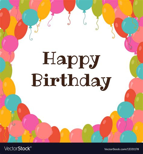 birthday card template with photo happy birthday card template with colorful vector image