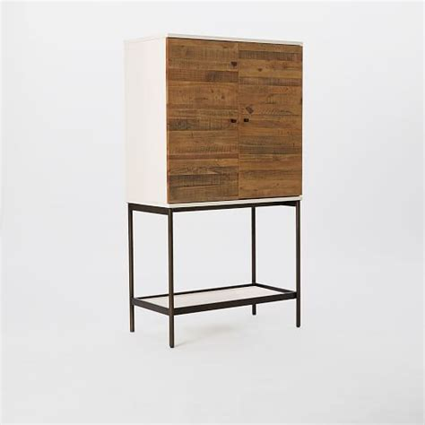 reclaimed wood bar cabinet reclaimed wood lacquer bar cabinet west elm