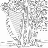Coloring Pages Harp Adults Instagram Irish App Adult Colouring Blank Drawings Therapy Illuminated Space Books Colortherapyapp 43pm Utc Guitar Feb sketch template