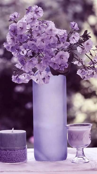 Purple Pillar Candles Flowers