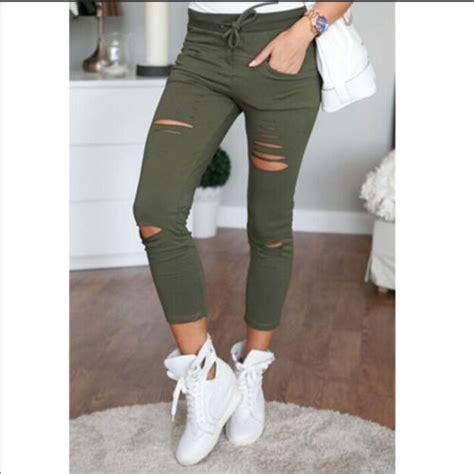 2016 Womens Ladies Stretch Faded Ripped Slim Fit Skinny Denim Jeans Size UK 6 8 12 14-in Jeans ...