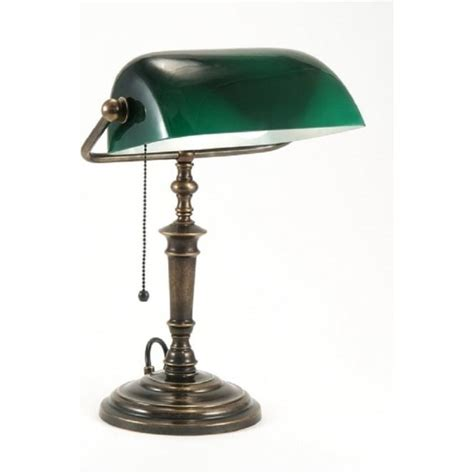 solid brass bankers l traditional solid brass bankers l green glass shade