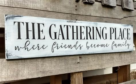 Kitchen Wood Signs Decor - 24 quot large farmhouse wood sign the gathering place kitchen