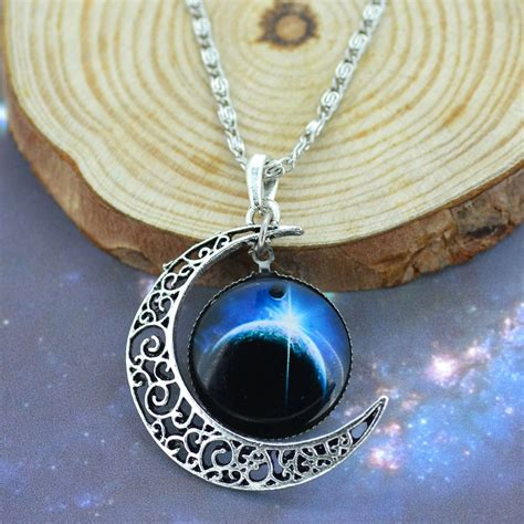 galaxy necklace lovely moon galaxy nebula space antique