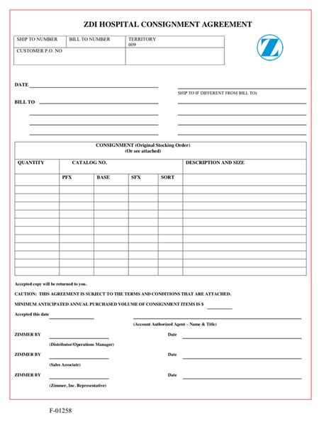 hospital consignment agreement  word   formats