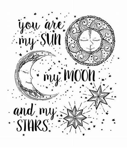 Moon Sun Stars Vector Face Illustration Hand