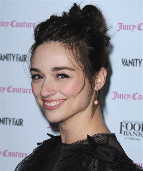 crystal reed long straight dark brunette updo