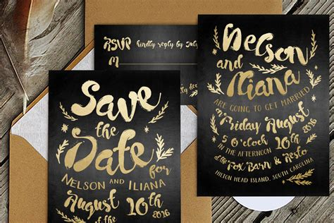 Black & Gold Hipster Wedding Suite ~ Wedding Templates