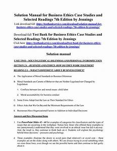 Solution Manual For Business Ethics Case Studies And
