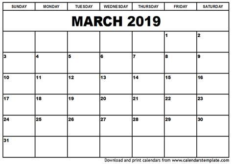 2019 Calendar Template March 2019 Calendar Template 2018 Calendar Printable