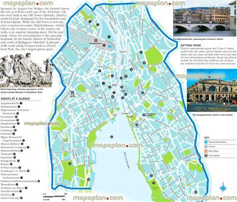 zurich map zurich city centre  travel guide top