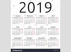 Simple 2019 Year Calendar Eps 8 Stock Vector 259113674