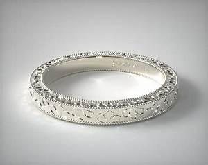 Hand Engraved James Allen Scroll Wedding Ring 14K White
