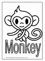 Monkey Coloring Pages Printable Worksheets Printables Monkeys Everfreecoloring Cute Word Colored Children Baby Kid Hummingbird Giraffe Preschoolers Adults Selection Learn sketch template