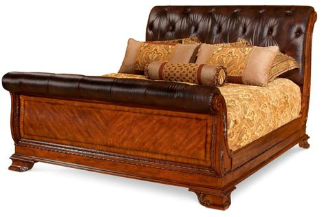 sleigh bed leather and wood king sized sleigh bed Leather
