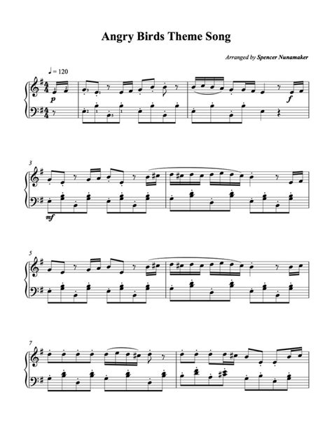 Angry Birds Theme Song Piano Sheet Music