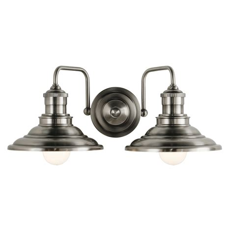 Allen And Roth Bathroom Vanity Lights by Shop Allen Roth 2 Light Hainsbrook Antique Pewter