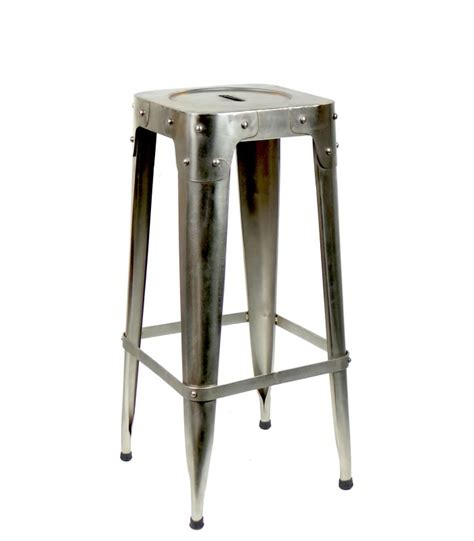 tabouret de bar design industriel en m 233 tal gris pomax