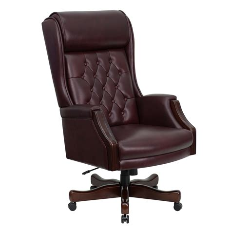flash high back traditional tufted burgundy leather