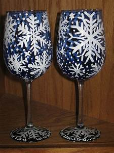 17 best images about glass painting on pinterest set of With kitchen colors with white cabinets with wine glass snow globe candle holder