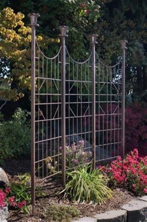 garden trellis iron metal 3 panel screen lawn ornament