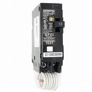 Siemens 15a Single Pole Gfci Push-on Breaker