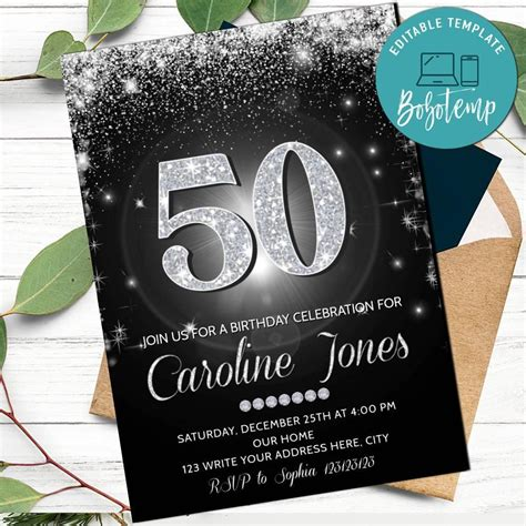 Printable Silver and Black Any Age Birthday Invitation