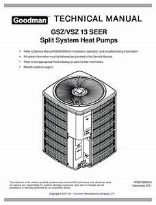 Goodman Gsz  Vsz 13 Seer Technical Manual Pdf Download