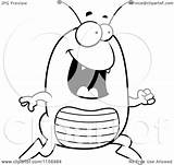 Flea Cartoon Running Clipart Happy Coloring Outlined Vector Thoman Cory Royalty sketch template
