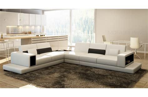 canap 233 d angle en cuir italien 6 7 places loft blanc