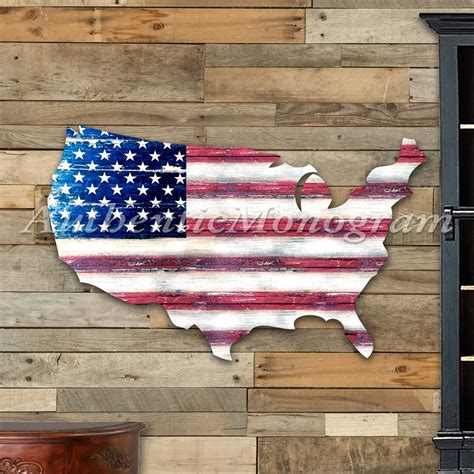 usa flag cutout rustic painted wooden
