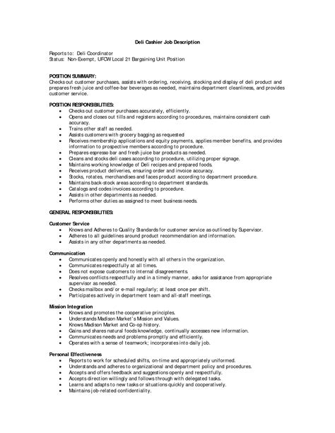 Cashier Description For Resume by Cashier Responsibilities For Resume Slebusinessresume