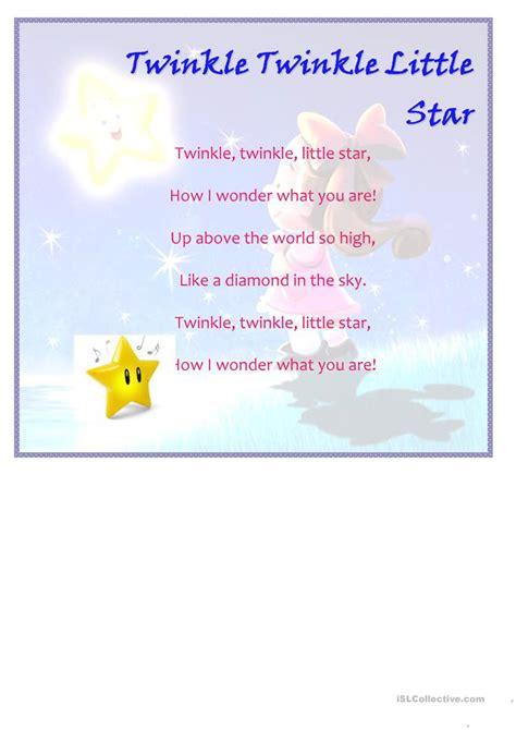 twinkle  star worksheet  esl printable