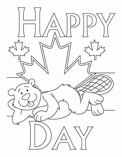 Canada Coloring Pages Printable Flag Canadian Happy