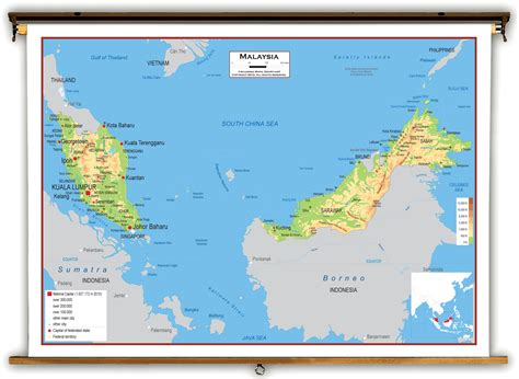 Malaysia Physical Educational Wall Map From Academia Maps