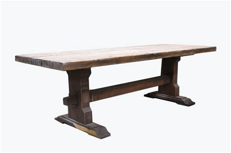 table rustic  thick plank top trestle heavy wood brown