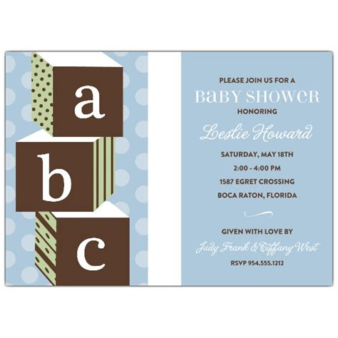 abc blocks blue baby shower invitations paperstyle
